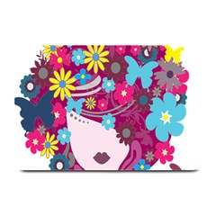 Floral Butterfly Hair Woman Plate Mats by Alisyart