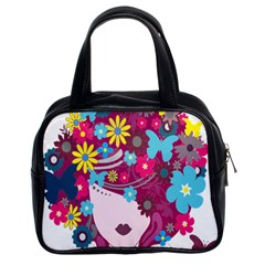 Floral Butterfly Hair Woman Classic Handbags (2 Sides) by Alisyart