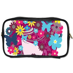 Floral Butterfly Hair Woman Toiletries Bags 2 Side by Alisyart