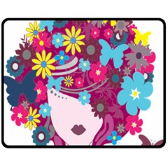 Floral Butterfly Hair Woman Fleece Blanket (medium)  by Alisyart