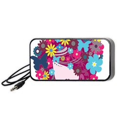 Floral Butterfly Hair Woman Portable Speaker (black) by Alisyart