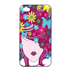 Floral Butterfly Hair Woman Apple Iphone 4/4s Seamless Case (black) by Alisyart