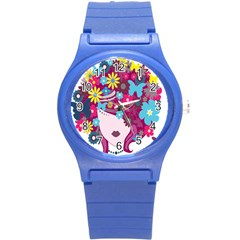 Floral Butterfly Hair Woman Round Plastic Sport Watch (s) by Alisyart