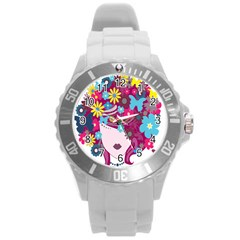 Floral Butterfly Hair Woman Round Plastic Sport Watch (l) by Alisyart