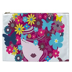 Floral Butterfly Hair Woman Cosmetic Bag (xxl)  by Alisyart