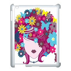 Floral Butterfly Hair Woman Apple Ipad 3/4 Case (white)