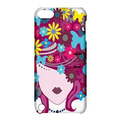 Floral Butterfly Hair Woman Apple Ipod Touch 5 Hardshell Case With Stand