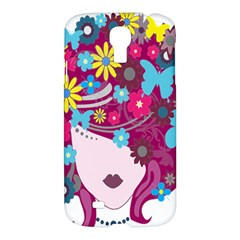 Floral Butterfly Hair Woman Samsung Galaxy S4 I9500/i9505 Hardshell Case