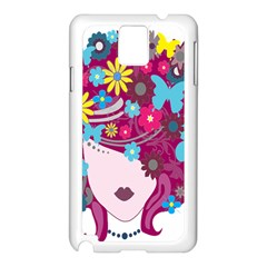 Floral Butterfly Hair Woman Samsung Galaxy Note 3 N9005 Case (white) by Alisyart