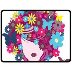 Floral Butterfly Hair Woman Double Sided Fleece Blanket (large)