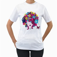 Floral Butterfly Hair Woman Women s T Shirt (white)