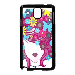 Floral Butterfly Hair Woman Samsung Galaxy Note 3 Neo Hardshell Case (black)
