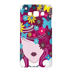 Floral Butterfly Hair Woman Samsung Galaxy A5 Hardshell Case  by Alisyart