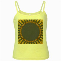 Frame Of Leafs Pattern Background Yellow Spaghetti Tank