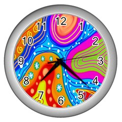 Hand Painted Digital Doodle Abstract Pattern Wall Clocks (silver)  by Simbadda