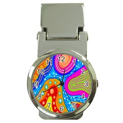 Hand Painted Digital Doodle Abstract Pattern Money Clip Watches by Simbadda