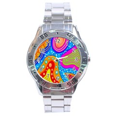 Hand Painted Digital Doodle Abstract Pattern Stainless Steel Analogue Watch by Simbadda