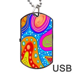 Hand Painted Digital Doodle Abstract Pattern Dog Tag Usb Flash (one Side) by Simbadda