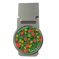 Completely Seamless Tile With Flower Money Clips (round)  by Simbadda