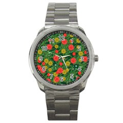 Completely Seamless Tile With Flower Sport Metal Watch by Simbadda