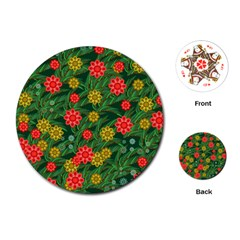 Completely Seamless Tile With Flower Playing Cards (round)  by Simbadda