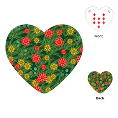 Completely Seamless Tile With Flower Playing Cards (heart)  by Simbadda