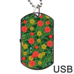 Completely Seamless Tile With Flower Dog Tag Usb Flash (one Side) by Simbadda