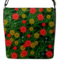 Completely Seamless Tile With Flower Flap Messenger Bag (s)