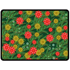 Completely Seamless Tile With Flower Double Sided Fleece Blanket (large)  by Simbadda