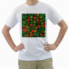Completely Seamless Tile With Flower Men s T Shirt (white)  by Simbadda