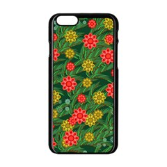 Completely Seamless Tile With Flower Apple Iphone 6/6s Black Enamel Case by Simbadda