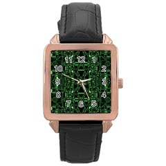 An Overly Large Geometric Representation Of A Circuit Board Rose Gold Leather Watch  by Simbadda
