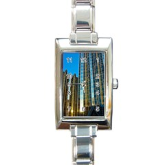 Two Abstract Architectural Patterns Rectangle Italian Charm Watch by Simbadda