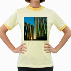 Two Abstract Architectural Patterns Women s Fitted Ringer T Shirts