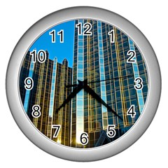 Two Abstract Architectural Patterns Wall Clocks (silver)