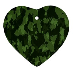 Camouflage Green Army Texture Ornament (heart) by Simbadda
