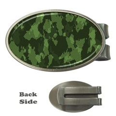 Camouflage Green Army Texture Money Clips (oval)  by Simbadda