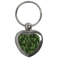 Camouflage Green Army Texture Key Chains (heart)  by Simbadda
