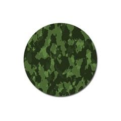 Camouflage Green Army Texture Magnet 3  (round) by Simbadda