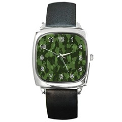 Camouflage Green Army Texture Square Metal Watch by Simbadda