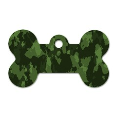 Camouflage Green Army Texture Dog Tag Bone (one Side) by Simbadda