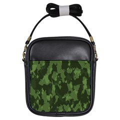 Camouflage Green Army Texture Girls Sling Bags by Simbadda