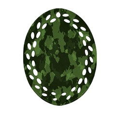 Camouflage Green Army Texture Oval Filigree Ornament (two Sides) by Simbadda