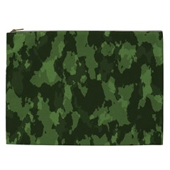 Camouflage Green Army Texture Cosmetic Bag (xxl)  by Simbadda