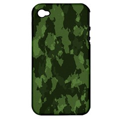 Camouflage Green Army Texture Apple Iphone 4/4s Hardshell Case (pc+silicone) by Simbadda