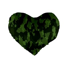 Camouflage Green Army Texture Standard 16  Premium Flano Heart Shape Cushions by Simbadda