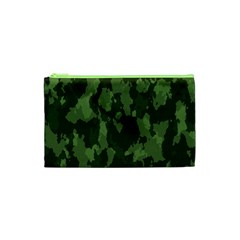 Camouflage Green Army Texture Cosmetic Bag (xs) by Simbadda
