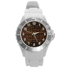 Pixel Pattern Colorful And Glowing Pixelated Round Plastic Sport Watch (l) by Simbadda