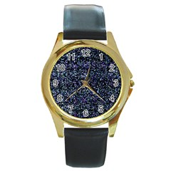Pixel Colorful And Glowing Pixelated Pattern Round Gold Metal Watch by Simbadda