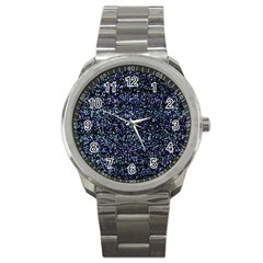Pixel Colorful And Glowing Pixelated Pattern Sport Metal Watch by Simbadda